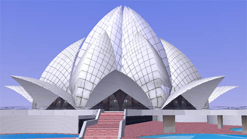 Bahai House of Worship, Lotus Temple, New Delhi on Google Earth